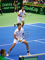 06-04-13, Tennis, Rumania, Brasov, Daviscup, Rumania-Netherlands,Jean-Julien Rojer and Robin Haase(forground) in the dubbles