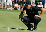 1 September 2008: Sergio Garcia lines up a putt at the Deutsche Bank Golf Championship in Norton, Massachusetts.