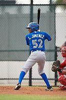 Toronto Blue Jays second baseman Leonardo Jimenez (52) at bat during an Instructional League game against the Philadelphia Phillies on September 30, 2017 at the Carpenter Complex in Clearwater, Florida.  (Mike Janes/Four Seam Images)
