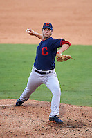 Pitcher Garrett Stallings (35) of Grassfield High School in Chesapeake, Virginia playing for the Cleveland Indians scout team during the East Coast Pro Showcase on July 29, 2015 at George M. Steinbrenner Field in Tampa, Florida.  (Mike Janes/Four Seam Images)