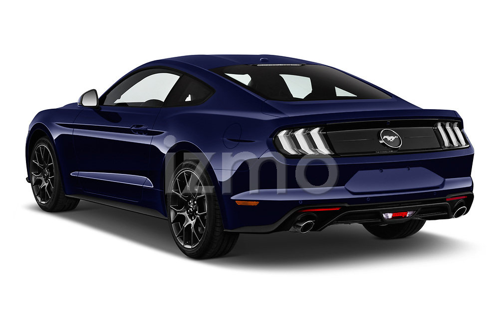 Car pictures of rear three quarter view of a 2018 Ford Mustang Fastback Ecoboost 2 Door Coupe angular rear