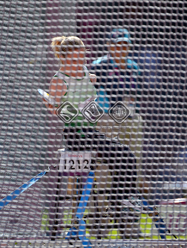 Catherine O'Neill (IRE) Silver medal<br /> Athletics: Women's discus throw F51-53<br /> Olympic Stadium (Friday 7 Sept)<br /> Paralympics - Summer / London 2012<br /> London England 29 Aug - 9 Sept <br /> © Sport the library / Jeff Crow