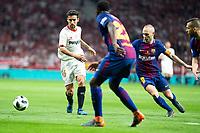 Sevilla FC Jesus Navas and FC Barcelona Andres Iniesta and Samuel Umtitiduring King's Cup Finals match between Sevilla FC and FC Barcelona at Wanda Metropolitano in Madrid, Spain. April 21, 2018. (ALTERPHOTOS/Borja B.Hojas)
