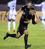 LANUS - ARGENTINA, 20-05-2021: Jose Sand de Club Atletico Lanus (ARG), corre a celebrar el gol anotado a La Equidad (COL), durante partido del grupo H fecha 5 entre Club Atletico Lanus (ARG) y La Equidad (COL) por la Copa CONMEBOL Sudamericana 2021 en el Estadio Ciudad de Lanus - Nestor Diaz Perez de la ciudad de Lanus. / Jose Sand of Club Atletico Lanus (ARG), runs to celebrates the scored goal to La Equidad (COL), during a match of the group H 5th date beween Club Atletico Lanus (ARG) and La Equidad (COL) for the CONMEBOL Sudamericana Cup 2021 at the Ciudad de Lanus - Nestor Diaz Perez Stadium, in Lanus city. / Photo: VizzorImage / Fotobaires / Nicolas Aboaf / Cont.