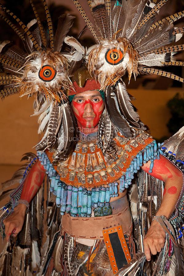 Mayan Representing Mythical Mayan Legend, the Owl, Playa del Carmen, Riviera Maya, Yucatan, Mexico.