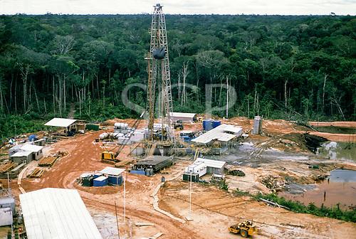 Caraoari, Amazonas State, Brazil. Petrobras oil exploration rig site in the rainforest.