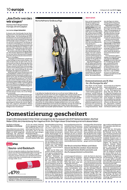 die tageszeitung taz (German daily) citing our photographers' views of the new European Parliament's agenda. Riga, Latvia, 05.2019.<br />