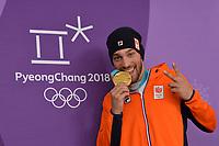 OLYMPIC GAMES: PYEONGCHANG: 23-02-2018, Gangneung Oval, Long Track, 1000m Men, Olympic Champion Kjeld Nuis (NED), ©photo Martin de Jong