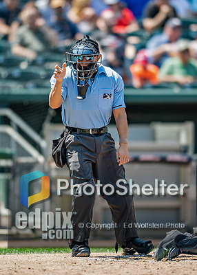 23 June 2019: Minor League Baseball Umpire Dave Martinez works home plate during a game between the New Hampshire Fisher Cats and the Trenton Thunder at Northeast Delta Dental Stadium in Manchester, NH. The Thunder defeated the Fisher Cats 5-2 in Eastern League play. Mandatory Credit: Ed Wolfstein Photo *** RAW (NEF) Image File Available ***