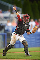 Batavia Muckdogs catcher Jarett Rindfleisch (44) throws to first during a game against the Hudson Valley Renegades on August 2, 2016 at Dwyer Stadium in Batavia, New York.  Batavia defeated Hudson Valley 2-1. (Mike Janes/Four Seam Images)