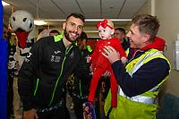Pictured: Borja Baston of Swansea City at Morriston Hospital, Swansea, Wales, UK. Thursday 19 December 2019