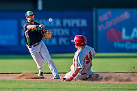 16 July 2017: Vermont Lake Monsters infielder Ryan Gridley, an 11th round draft pick for the Oakland Athletics, turns a double-play in the 7th inning against the Auburn Doubledays at Centennial Field in Burlington, Vermont. The Monsters defeated the Doubledays 6-3 in NY Penn League action. Mandatory Credit: Ed Wolfstein Photo *** RAW (NEF) Image File Available ***