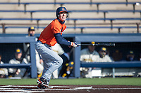 Illinois Fighting Illini outfielder Cam McDonald (4) follows through on his swing during the NCAA baseball game against the Michigan Wolverines on March 19, 2021 at Fisher Stadium in Ann Arbor, Michigan. Illinois won the game 7-4. (Andrew Woolley/Four Seam Images)