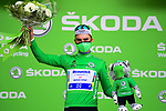 Julian Alaphilippe (FRA) Deceuninck-Quick Step retains the points Green Jersey at the end of Stage 3 of the 2021 Tour de France, running 182.9km from Lorient to Pontivy, France. 28th June 2021.  <br /> Picture: A.S.O./Pauline Ballet | Cyclefile<br /> <br /> All photos usage must carry mandatory copyright credit (© Cyclefile | A.S.O./Pauline Ballet)