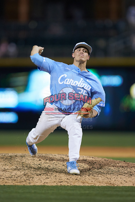 North Carolina Tar Heels relief pitcher Joey Lancellotti (36) in action against the South Carolina Gamecocks at BB&T BallPark on April 3, 2018 in Charlotte, North Carolina. The Tar Heels defeated the Gamecocks 11-3. (Brian Westerholt/Four Seam Images)