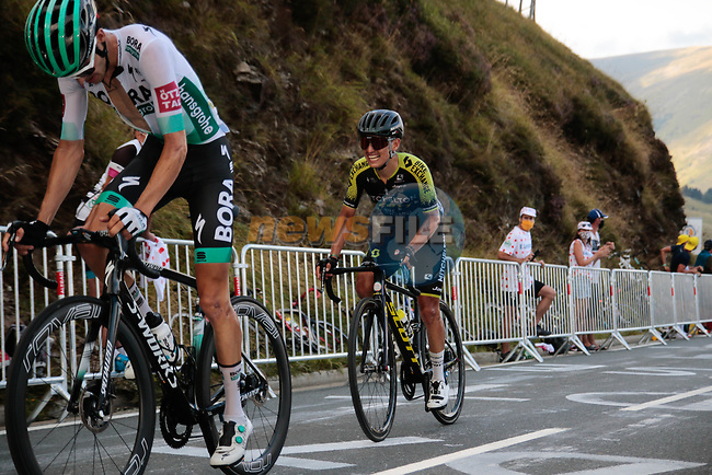 Emanuel Buchmann (GER) Bora-Hansgrohe and Esteban Chaves (COL) Mitchelton-Scott climb the Col de Peyresourde in front during Stage 8 of Tour de France 2020, running 141km from Cazeres-sur-Garonne to Loudenvielle, France. 5th September 2020. <br /> Picture: Colin Flockton | Cyclefile<br /> All photos usage must carry mandatory copyright credit (© Cyclefile | Colin Flockton)