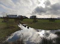 Parc de 40 ha cree en zone humide entre les quartiers Saint-Jacques centre (au fond de la photo) et des coteaux de la Morinais