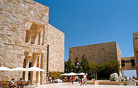 """Richard Meier: The Getty Center. East Pavilion (left) and South Pavilion (right) from courtyard. (The """"old Jerusalem quarter""""?)  Photo '99."""