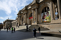 NEW YORK, NEW YORK - MARCH 19: People walking around of The Met Museum on March 19, 2021 in New York. The Met Museum is considering selling some of its works to support itself after claming that the pandemic has caused a loss of revenue of $150 million in about 18 months. (Photo by John Smith/VIEWpress)