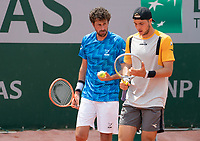 Paris, France, 1 june 2021, Tennis, French Open, Roland Garros, First round doubles match: Robin  Haase (NED) (L) and  Jan-Lennard Struff (GER)<br /> Photo: tennisimages.com
