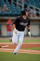 Birmingham Barons Nick Madrigal  (7) runs to first base during a Southern League game against the Chattanooga Lookouts on July 24, 2019 at Regions Field in Birmingham, Alabama.  Chattanooga defeated Birmingham 9-1.  (Mike Janes/Four Seam Images)