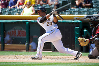 Luis Martinez (20) of the Salt Lake Bees at bat against the Nashville Sounds in Pacific Coast League action at Smith's Ballpark on June 22, 2014 in Salt Lake City, Utah.  (Stephen Smith/Four Seam Images)