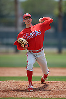 Philadelphia Phillies Tim Berry (22) during a Minor League Extended Spring Training game against the Atlanta Braves on April 20, 2018 at Carpenter Complex in Clearwater, Florida.  (Mike Janes/Four Seam Images)