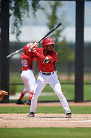 GCL Nationals Jaylen Hubbard (13) at bat during a Gulf Coast League game against the GCL Astros on August 9, 2019 at FITTEAM Ballpark of the Palm Beaches training complex in Palm Beach, Florida.  GCL Nationals defeated the GCL Astros 8-2.  (Mike Janes/Four Seam Images)