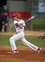 Lake Mary Rams outfielder Joseph Pesce (4) during a game against the Lake Brantley Patriots on April 2, 2015 at Allen Tuttle Field in Lake Mary, Florida.  Lake Brantley defeated Lake Mary 10-5.  (Mike Janes/Four Seam Images)