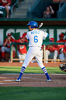 Moises Perez (6) of the Ogden Raptors bats against the Orem Owlz in Pioneer League action at Lindquist Field on June 21, 2017 in Ogden, Utah. The Owlz defeated the Raptors 16-5. This was Opening Night at home for the Raptors.  (Stephen Smith/Four Seam Images)