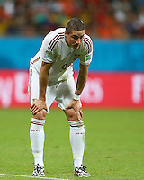 Fernando Torres of Spain shows a look of dejection