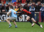 Derry Gleeson of Garryowen  in action against Zack Whelehan of Ennis during their U-18 Munster Club Final at Thomond Park. Photograph by John Kelly.