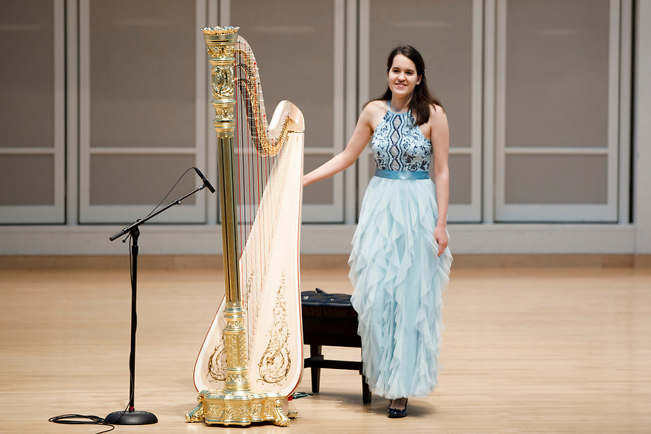 Harpist Lenka Petrovic takes the stage for her laureate recital at the 11th USA International Harp Competition at Indiana University in Bloomington, Indiana on Sunday, July 7, 2019. (Photo by James Brosher)