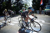 """Richie Porte (AUS/SKY) on the final climb to Chamrousse (1730m/18.2km/7.3%) has a bad day on the bike (lost 8'48"""" on Nibali) and seems to have lost any chance for a podium<br /> <br /> 2014 Tour de France<br /> stage 13: Saint-Etiènne - Chamrousse (197km)"""