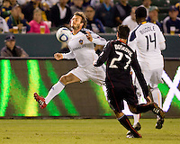 LA Galaxy midfielder David Beckham traps a ball with his chest. The LA Galaxy defeated DC United 2-1at Home Depot Center stadium in Carson, California on Saturday September 18, 2010.