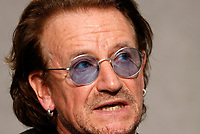 Irish. U2 rock band's frontman Bono Vox attends a press conference at the. End of a meeting with the. Pope, at the Vatican, September 19, 2018.<br /> UPDATE IMAGES PRESS/Riccardo De Luca<br /> <br /> STRICTLY ONLY FOR EDITORIAL USE