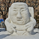 €A snow sculpture of 'Japanese comedian Shogo Yasumura' is seen at Odori Park in Sapporo, Hokkaido, Japan on February 5, 2016. (Photo by AFLO)
