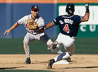 Walt Weiss of the Atlanta Braves participates in a baseball game at Qualcomm Stadium during the1998 season in San Diego, California. (Larry Goren/Four Seam Images)
