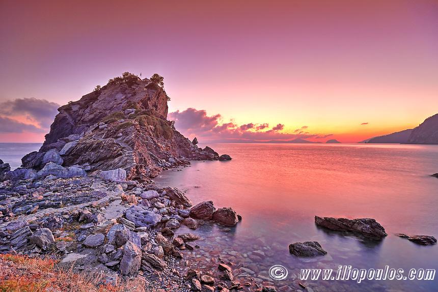 The sunrise at Agios Ioannis Kastri of Skopelos island, Greece