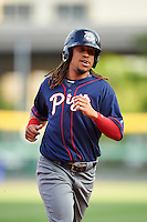 Lehigh Valley IronPigs second baseman Emmanuel Burriss (9) runs the bases on a Taylor Featherston (not pictured) home run during a game against the Buffalo Bisons on July 9, 2016 at Coca-Cola Field in Buffalo, New York.  Lehigh Valley defeated Buffalo 9-1 in a rain shortened game.  (Mike Janes/Four Seam Images)