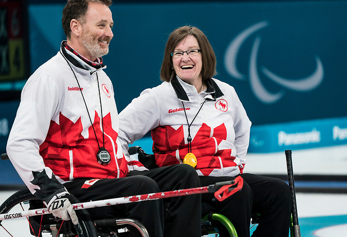 PyeongChang 14/3/2018 - Alternate Jamie Anseeuw and Lead Marie Wright  as Canada takes on Slovakia in wheelchair curling at the Gangneung Curling Centre during the 2018 Winter Paralympic Games in Pyeongchang, Korea. Photo: Dave Holland/Canadian Paralympic Committee