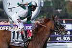 November 2, 2019: Blue Prize, ridden by Joe Bravo, wins the Longines Breeders' Cup Distaff on Breeders' Cup World Championship Saturday at Santa Anita Park on November 2, 2019: in Arcadia, California. Casey Phillips/Eclipse Sportswire/CSM
