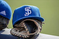 San Jose State Spartans hat on March 27, 2019 in Game 1 of the NCAA baseball doubleheader at Ray Fisher Stadium in Ann Arbor, Michigan. Michigan defeated San Jose State 1-0. (Andrew Woolley/Four Seam Images)