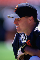 SAN FRANCISCO, CA - J.T. Snow of the San Francisco Giants takes batting practice before a game in 1997 at Candlestick Park in San Francisco, California. (Photo by Brad Mangin)