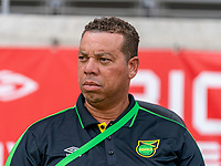 HOUSTON, TX - JUNE 10: Hubert Busby Jr. of Jamaica  watches his team during a game between Nigeria and Jamaica at BBVA Stadium on June 10, 2021 in Houston, Texas.