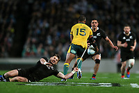 Beauden Barrett tackles Kurtley Beale during the Bledisloe Cup Rugby match between the New Zealand All Blacks and Australia Wallabies at Eden Park in Auckland, New Zealand on Saturday, 17 August 2019. Photo: Simon Watts / lintottphoto.co.nz