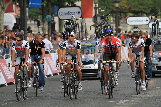 Cervelo Test Team with Norwegian Champion Thor Hushovd part of the team parade at the end of the final Stage 20 of the 2010 Tour de France running 102.5km from Longjumeau to Paris Champs-Elysees, France. 25th July 2010.<br /> (Photo by Eoin Clarke/NEWSFILE).<br /> All photos usage must carry mandatory copyright credit (© NEWSFILE | Eoin Clarke)