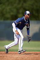 Milwaukee Brewers Gilbert Lara (24) during an instructional league game against the Cleveland Indians on October 8, 2015 at the Maryvale Baseball Complex in Maryvale, Arizona.  (Mike Janes/Four Seam Images)