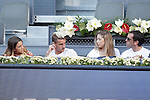 Atletico de Madrid's players Antoine Griezmann (l) and Diego Godin with theirs wives during Madrid Open Tennis 2015 match.May, 8, 2015.(ALTERPHOTOS/Acero)