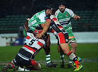 Veikoso Poloniati is tackled during the 2021 Bunnings Warehouse Cup rugby match between Manawatu Turbos and Counties Manukau Steelers at CET Stadium in Palmerston North, New Zealand on Friday, 6 August 2021 Photo: Dave Lintott / lintottphoto.co.nz